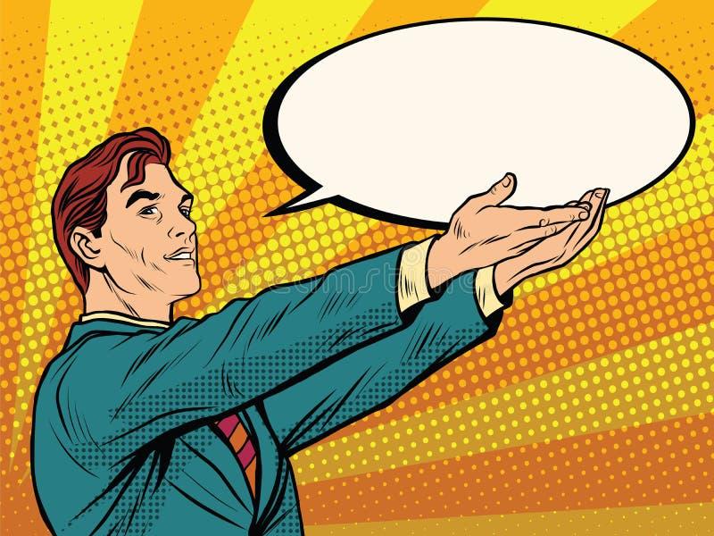 Αναδρομικός επιχειρηματίας που κρατά μια κωμική φυσαλίδα ελεύθερη απεικόνιση δικαιώματος
