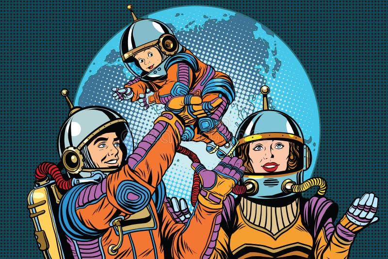 Αναδρομικός οικογενειακός μπαμπάς αστροναυτών mom και παιδί απεικόνιση αποθεμάτων