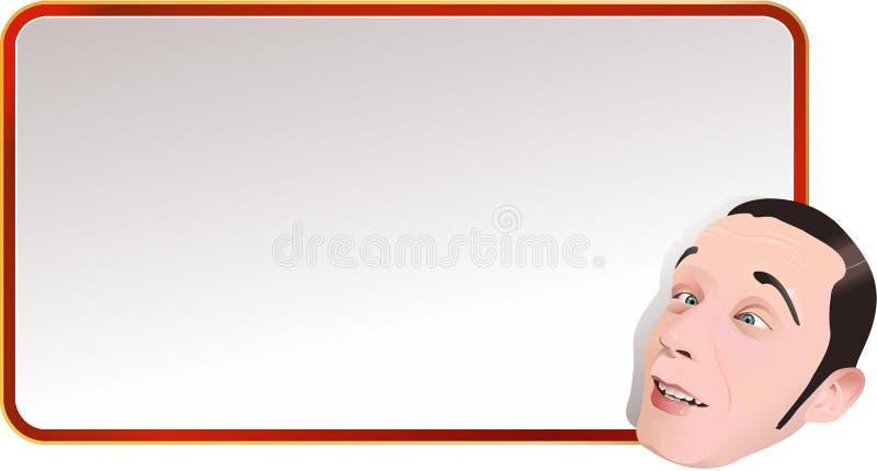 Αναδρομικός πίνακας διαφημίσεων με το επικεφαλής άτομο στοκ εικόνες