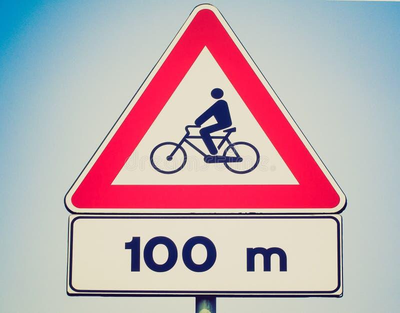 Αναδρομικός φανείτε σημάδι ποδηλάτων στοκ φωτογραφία με δικαίωμα ελεύθερης χρήσης