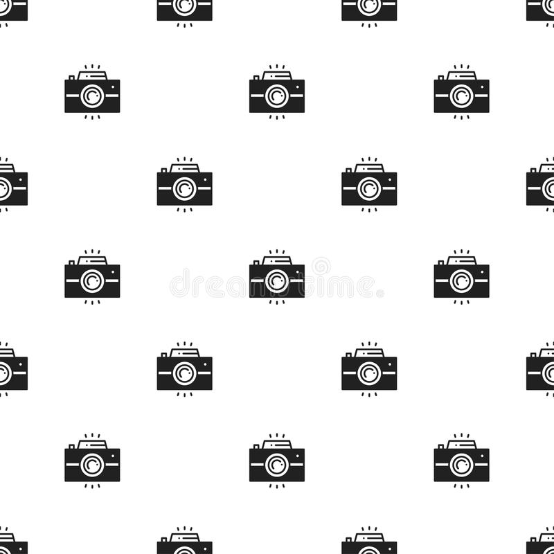 Αναδρομικό άνευ ραφής σχέδιο καμερών φωτογραφιών print Φωτογραφία, συσκευή φωτογραφιών, στιγμιαία φωτογραφία, κάμερα, σημάδι στιγ απεικόνιση αποθεμάτων