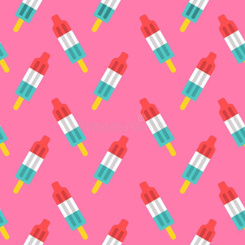 Αναδρομικό άνευ ραφής σχέδιο πυραύλων popsicle διανυσματική απεικόνιση