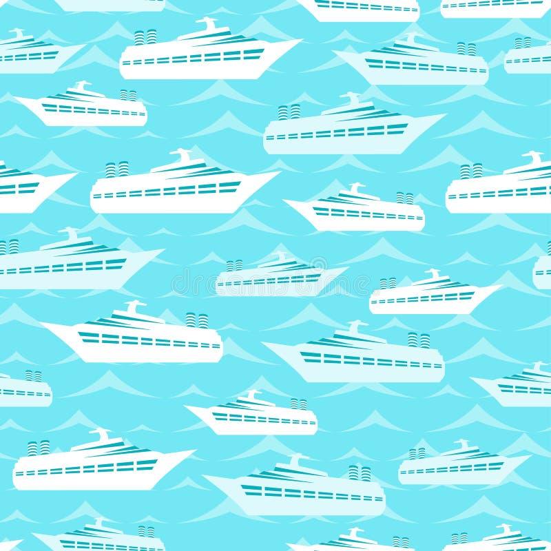 Αναδρομικό άνευ ραφής σχέδιο ταξιδιού των σκαφών της γραμμής κρουαζιέρας ελεύθερη απεικόνιση δικαιώματος