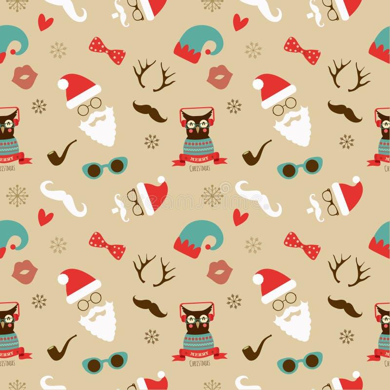 Αναδρομικό άνευ ραφής σχέδιο Hipster Χριστουγέννων απεικόνιση αποθεμάτων