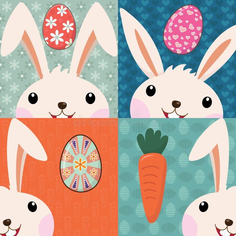 Αναδρομικό λαγουδάκι Πάσχας με τα χρωματισμένα αυγά διανυσματική απεικόνιση