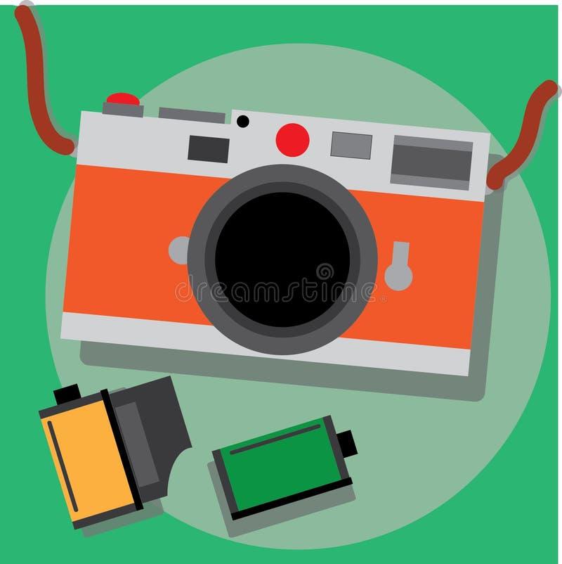Αναδρομικό ασημένιο σώμα καμερών ταινιών με το πορτοκαλί δέρμα στοκ φωτογραφίες με δικαίωμα ελεύθερης χρήσης