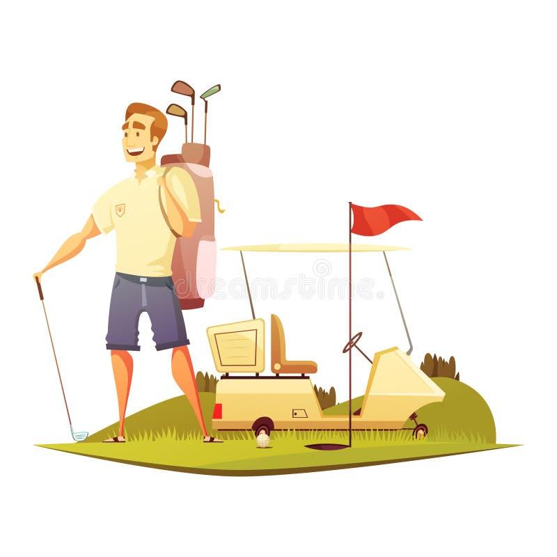 Αναδρομικό εικονίδιο κινούμενων σχεδίων φορέων γηπέδων του γκολφ ελεύθερη απεικόνιση δικαιώματος