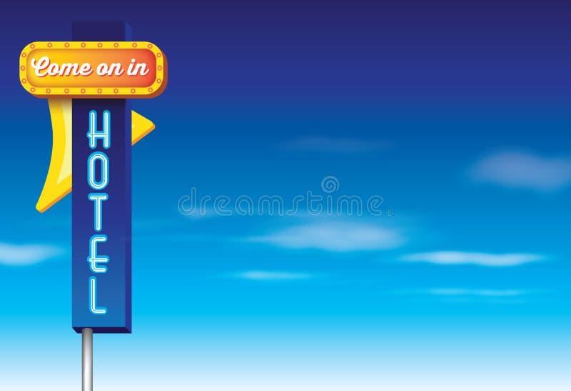 Αναδρομικό εκλεκτής ποιότητας αμερικανικό σημάδι διαφήμισης ύφους ξενοδοχείων ελεύθερη απεικόνιση δικαιώματος