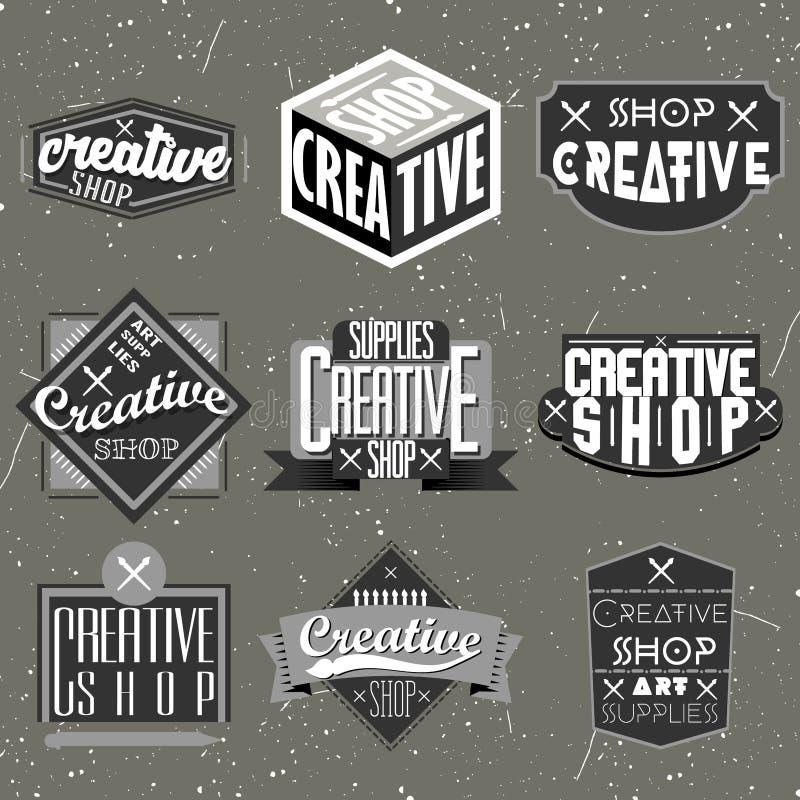 Αναδρομικό εκλεκτής ποιότητας σύνολο Insignias ή Logotypes ελεύθερη απεικόνιση δικαιώματος
