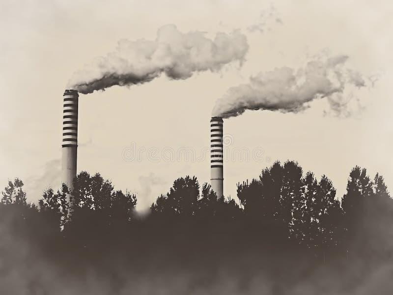 Αναδρομικό εκλεκτής ποιότητας υπόβαθρο σεπιών καπνοδόχων σωρών εγκαταστάσεων εργοστασίων στοκ φωτογραφίες με δικαίωμα ελεύθερης χρήσης