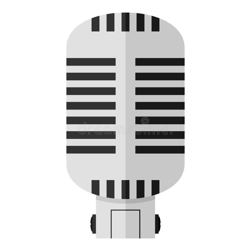 Αναδρομικό επίπεδο εικονίδιο μικροφώνων που απομονώνεται στο λευκό απεικόνιση αποθεμάτων