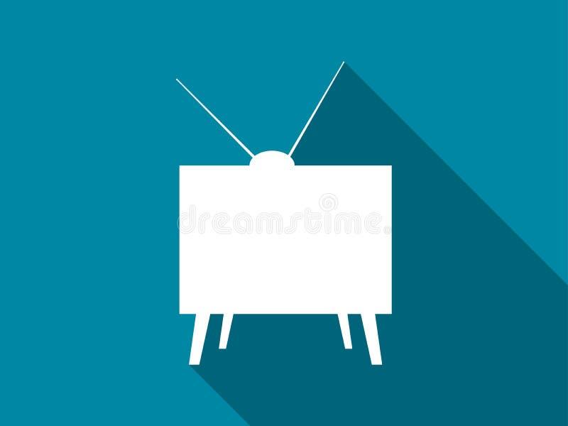 Αναδρομικό επίπεδο εικονίδιο TV με τη μακριά σκιά διάνυσμα απεικόνιση αποθεμάτων