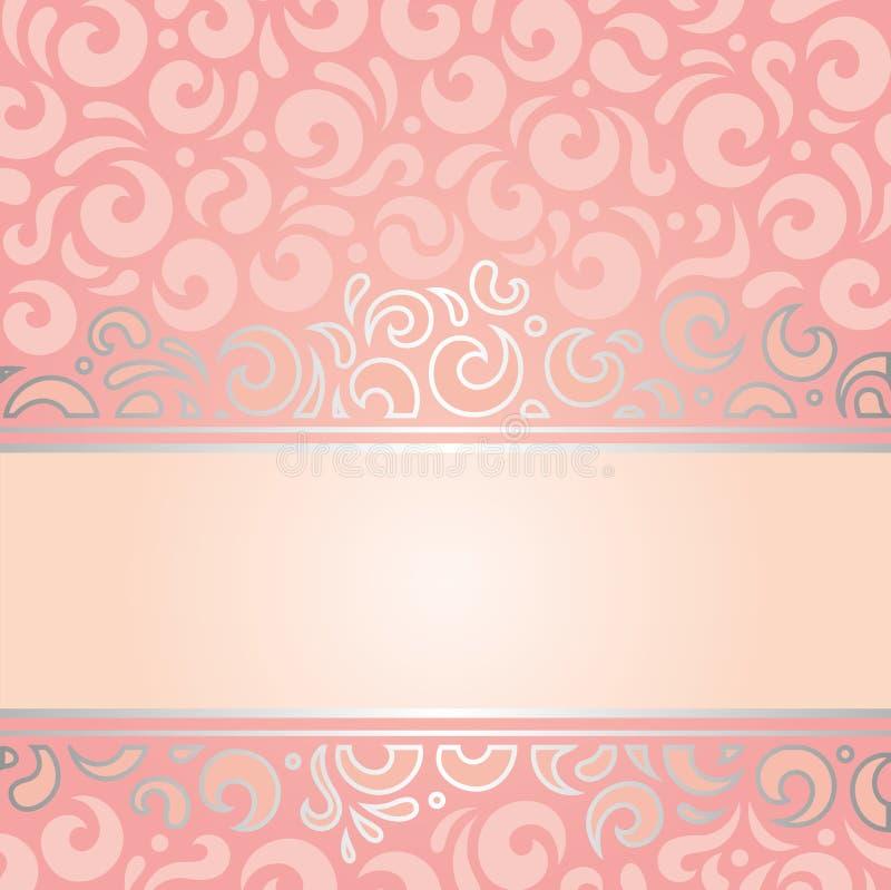 Αναδρομικό διακοσμητικό ρόδινο & ασημένιο σχέδιο ταπετσαριών πρόσκλησης εκλεκτής ποιότητας διανυσματική απεικόνιση