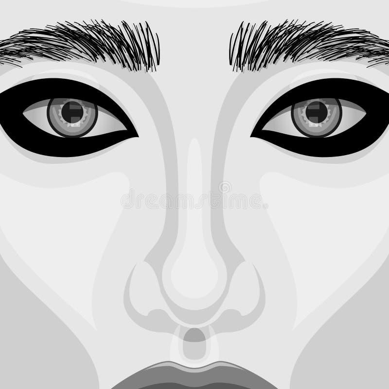 Αναδρομικό διανυσματικό πορτρέτο γυναικών με τα όμορφα μάτια ελεύθερη απεικόνιση δικαιώματος