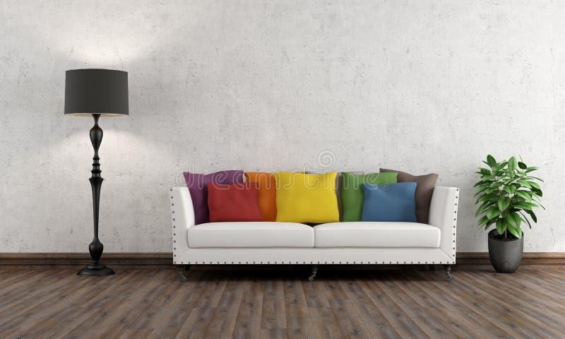 Αναδρομικό καθιστικό με το ζωηρόχρωμο καναπέ απεικόνιση αποθεμάτων