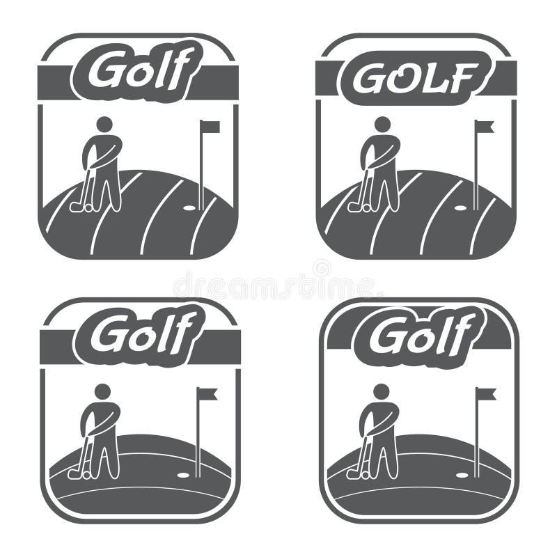 Αναδρομικό και εκλεκτής ποιότητας γκολφ κλαμπ λογότυπων διασχισμένα διανυσματικά φτερά ξιφών ασπίδων εμβλημάτων απεικόνιση αποθεμάτων