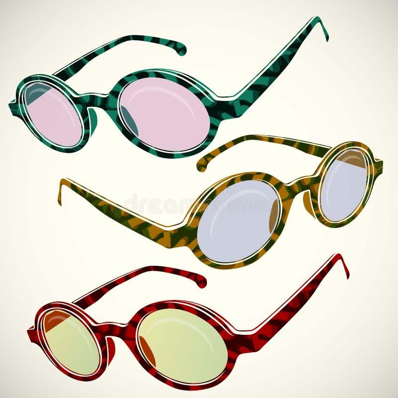 Αναδρομικό καλοκαίρι γυαλιών ήλιων, πλαστικό, φακός, χρώμα, διανυσματική απεικόνιση