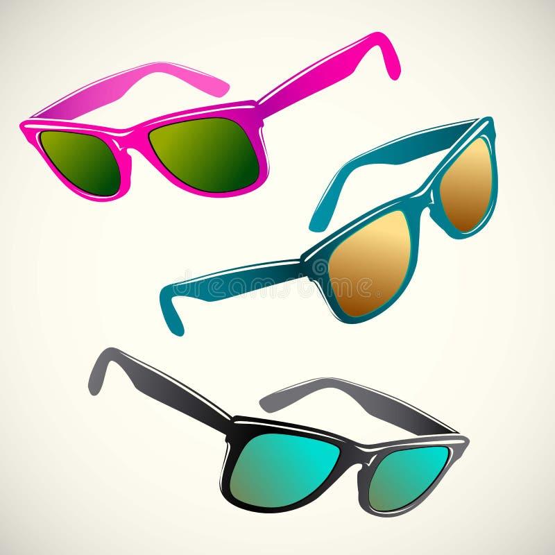 Αναδρομικό καλοκαίρι γυαλιών ήλιων, πλαστικό, φακός, χρώμα, ελεύθερη απεικόνιση δικαιώματος
