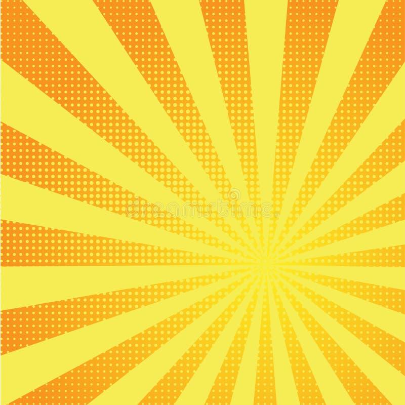Αναδρομικό κωμικό κίτρινο αναδρομικό ύφος τέχνης υποβάθρου λαϊκό ελεύθερη απεικόνιση δικαιώματος
