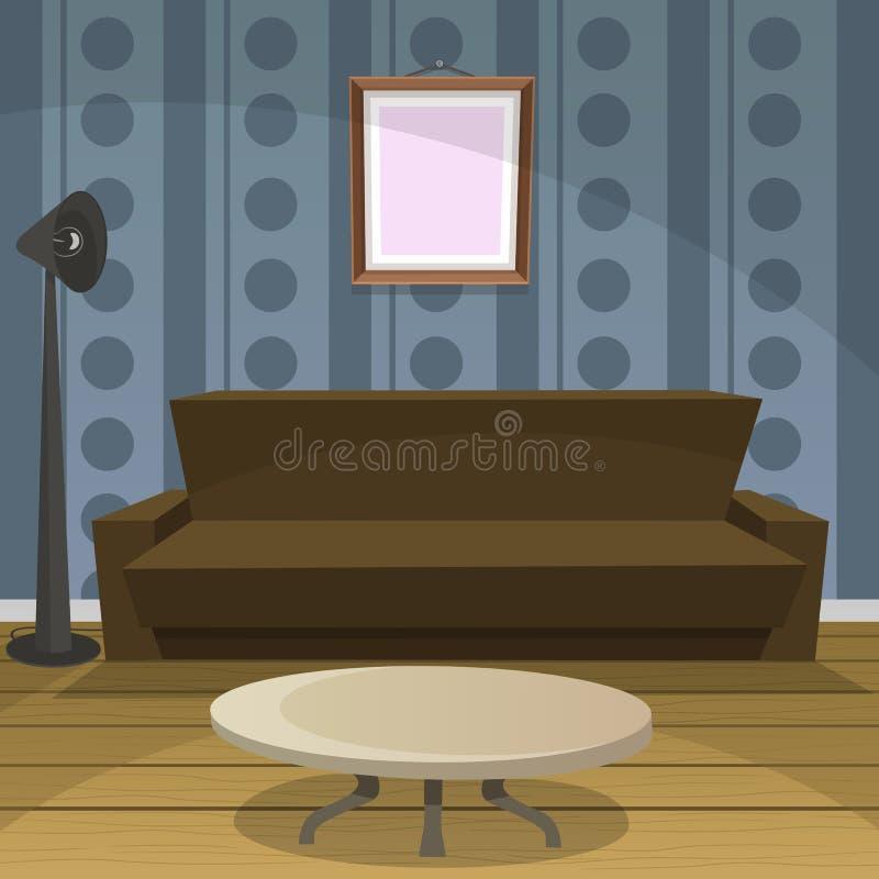 Αναδρομικό μπλε δωματίων ελεύθερη απεικόνιση δικαιώματος