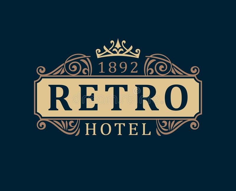 Αναδρομικό ξενοδοχείο Καλλιγραφικές γραμμές διακοσμήσεων προτύπων λογότυπων πολυτέλειας διανυσματική απεικόνιση