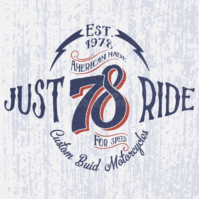 Αναδρομικό λογότυπο μοτοσικλετών με τον επιγραφή-δίκαιο γύρο διανυσματική απεικόνιση