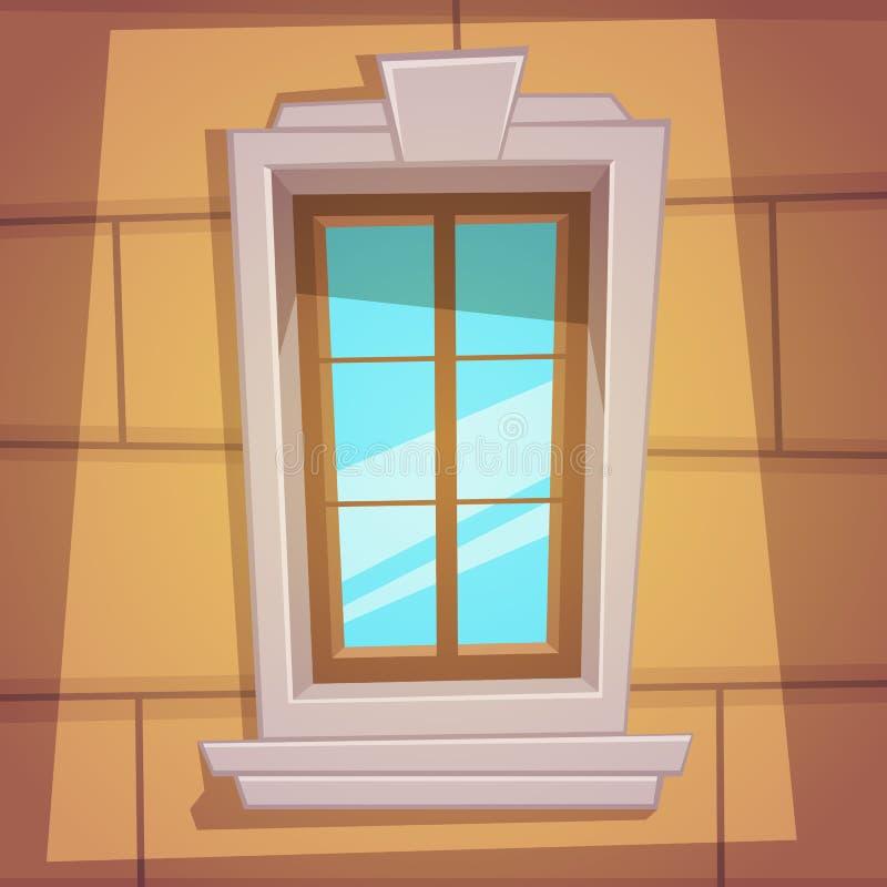Αναδρομικό παράθυρο κινούμενων σχεδίων απεικόνιση αποθεμάτων