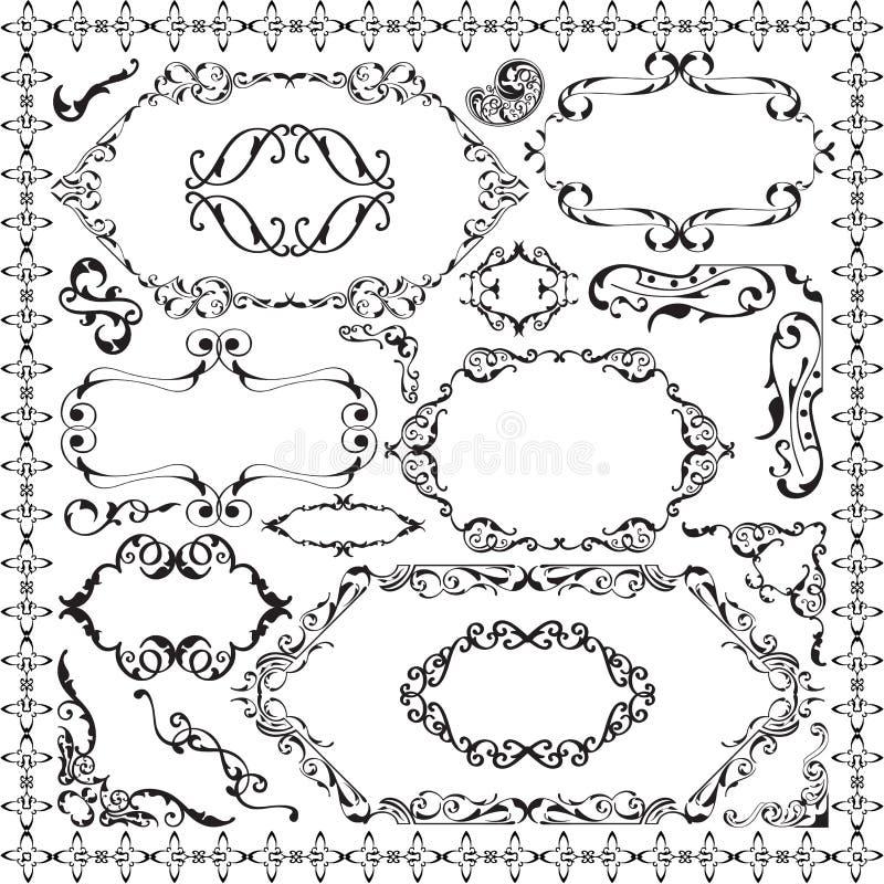 Αναδρομικό περίκομψο σύνολο σχεδίου διανυσματική απεικόνιση