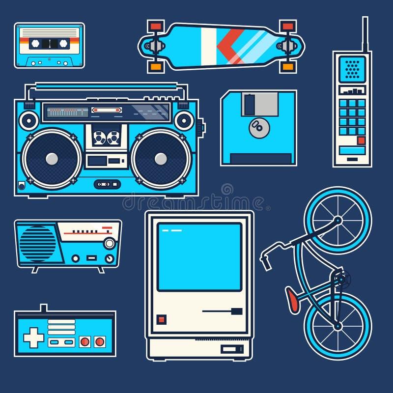 Αναδρομικό ποδήλατο στοιχείων, τηλέφωνο, υπολογιστής, δισκέτα, skateboard, πηδάλιο, boombox, κασέτα, ραδιο εκλεκτής ποιότητας δια διανυσματική απεικόνιση