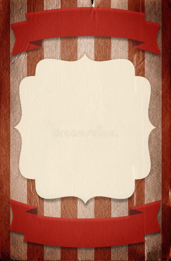 Αναδρομικό πρότυπο αφισών ύφους τσίρκων στο ριγωτό υπόβαθρο με ri απεικόνιση αποθεμάτων