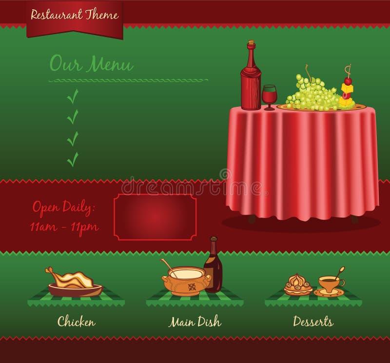 Αναδρομικό πρότυπο εστιατορίων απεικόνιση αποθεμάτων