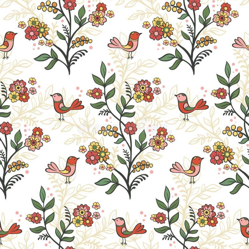 Αναδρομικό ρομαντικό floral υπόβαθρο με τα λουλούδια και τα πουλιά διανυσματική απεικόνιση
