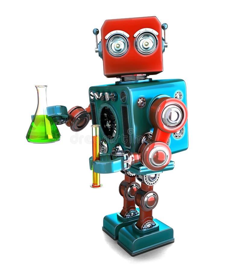 Αναδρομικό ρομπότ με τα εργαστηριακά γυαλικά απομονωμένος Πορεία ψαλιδίσματος Contians απεικόνιση αποθεμάτων