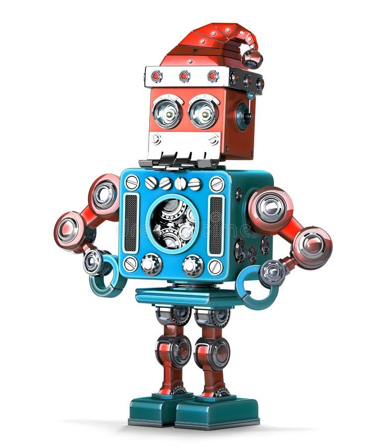 Αναδρομικό ρομπότ με το καπέλο και τη γενειάδα του santa Περιέχει το μονοπάτι ψαλιδίσματος διανυσματική απεικόνιση