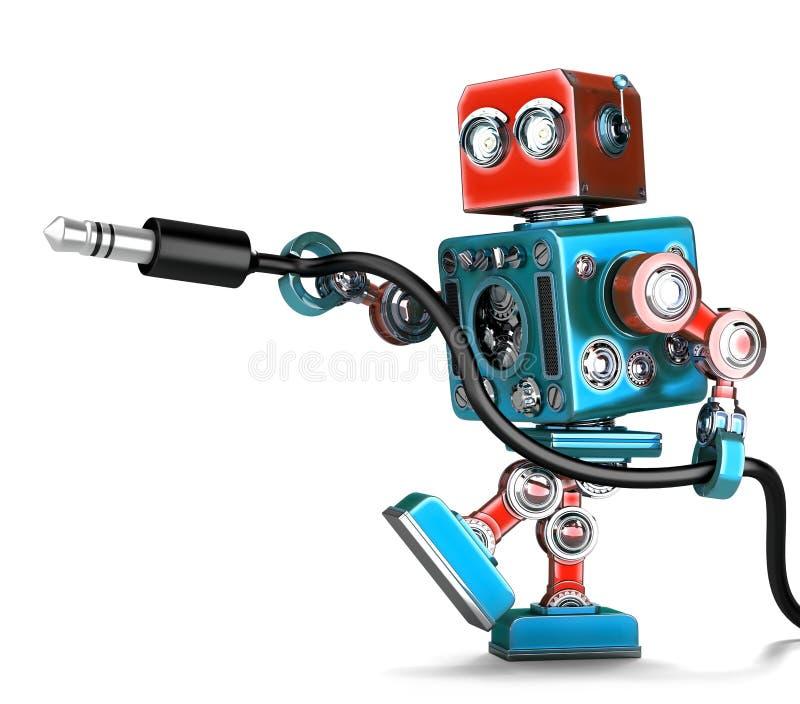 Αναδρομικό ρομπότ με το στερεοφωνικό ακουστικό γρύλο απομονωμένος Περιέχει το μονοπάτι ψαλιδίσματος ελεύθερη απεικόνιση δικαιώματος