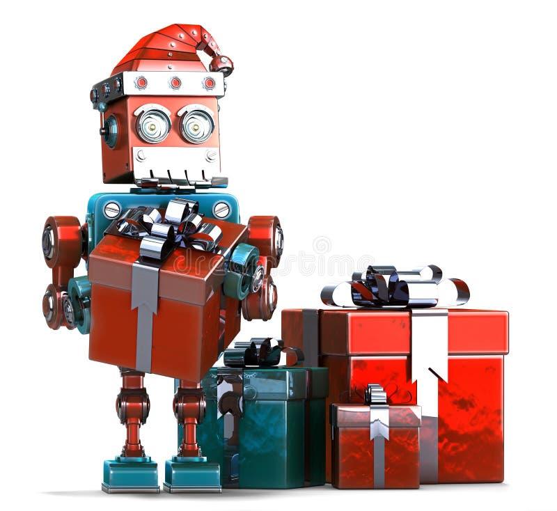 Αναδρομικό ρομπότ Santa με τα κιβώτια δώρων Έννοια Χριστουγέννων , περιέχει την πορεία ψαλιδίσματος ελεύθερη απεικόνιση δικαιώματος