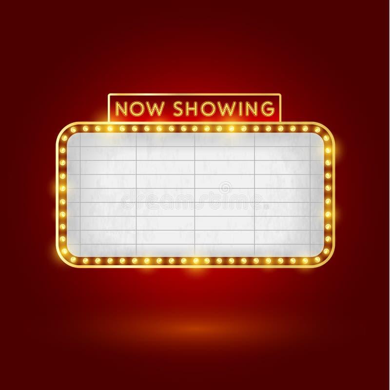 Αναδρομικό σημάδι κινηματογράφων διανυσματική απεικόνιση