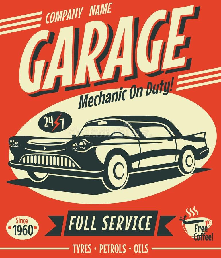 Αναδρομικό σημάδι υπηρεσιών αυτοκινήτων απεικόνιση αποθεμάτων