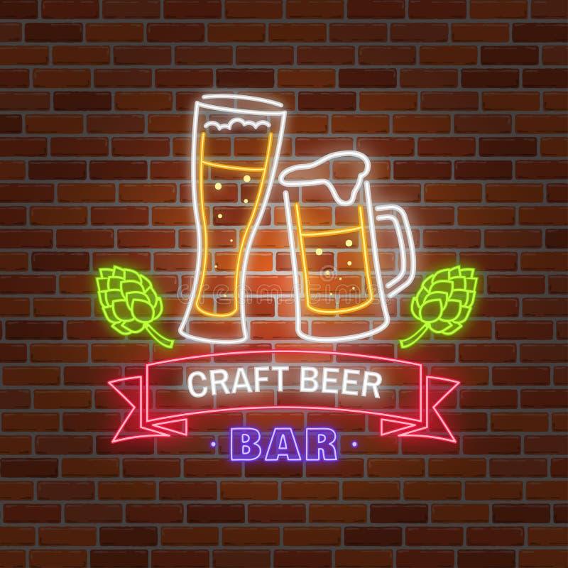 Αναδρομικό σημάδι φραγμών μπύρας νέου στο υπόβαθρο τουβλότοιχος απεικόνιση αποθεμάτων
