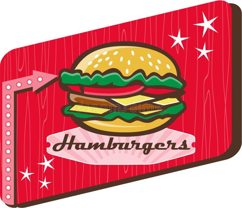Αναδρομικό σημάδι χάμπουργκερ γευματιζόντων της δεκαετίας του '50 απεικόνιση αποθεμάτων