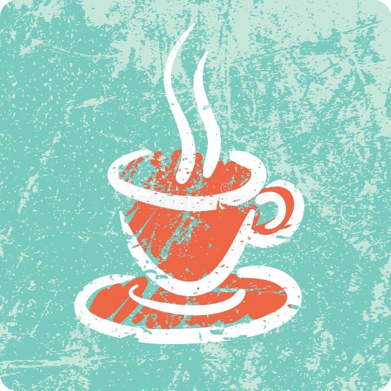 Αναδρομικό συρμένο χέρι κατασκευασμένο εικονίδιο - καφές απεικόνιση αποθεμάτων
