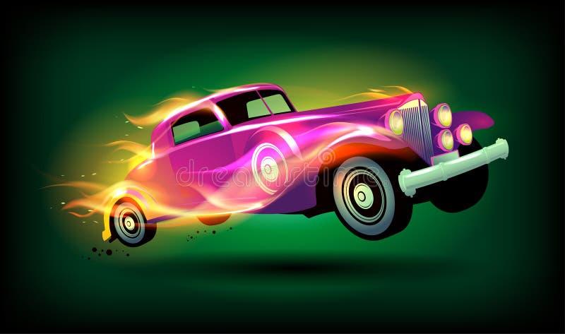 Αναδρομικό σχέδιο αγωνιστικών αυτοκινήτων διανυσματική απεικόνιση