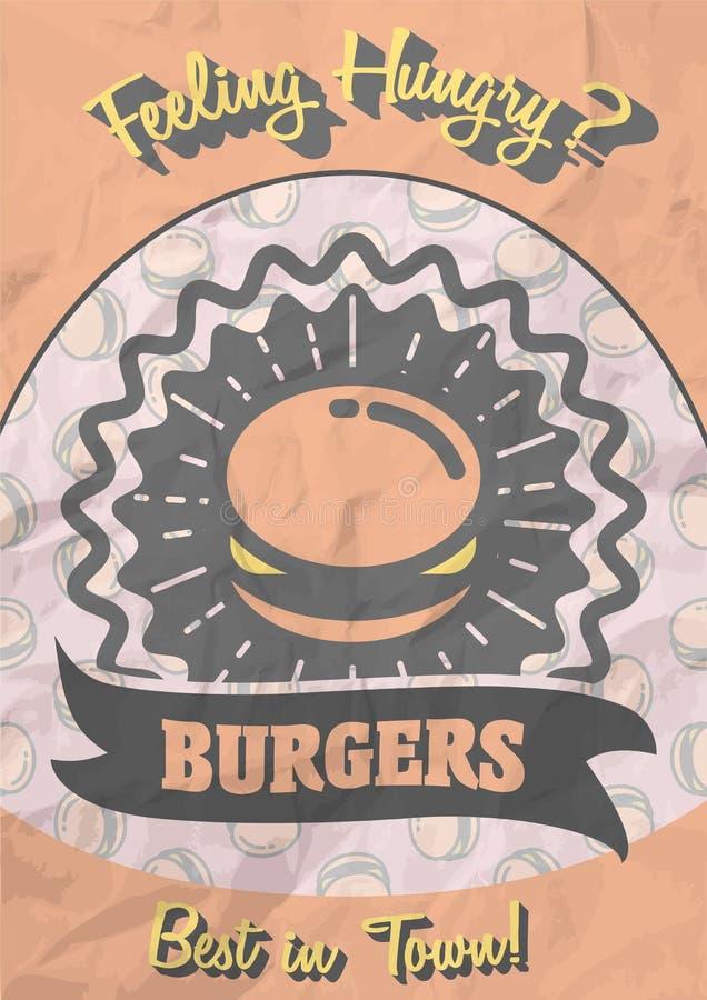 Αναδρομικό σχέδιο αφισών με καυτό, νόστιμο, εύγευστο burger διανυσματική απεικόνιση