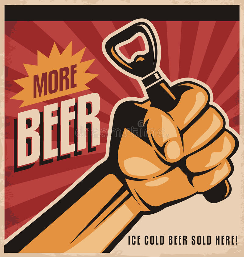 Αναδρομικό σχέδιο αφισών μπύρας με την πυγμή επαναστάσεων διανυσματική απεικόνιση