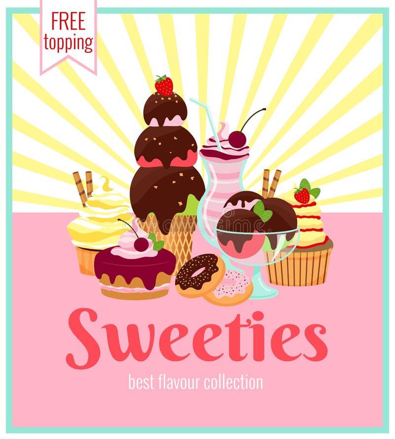 Αναδρομικό σχέδιο αφισών Sweeties διανυσματική απεικόνιση