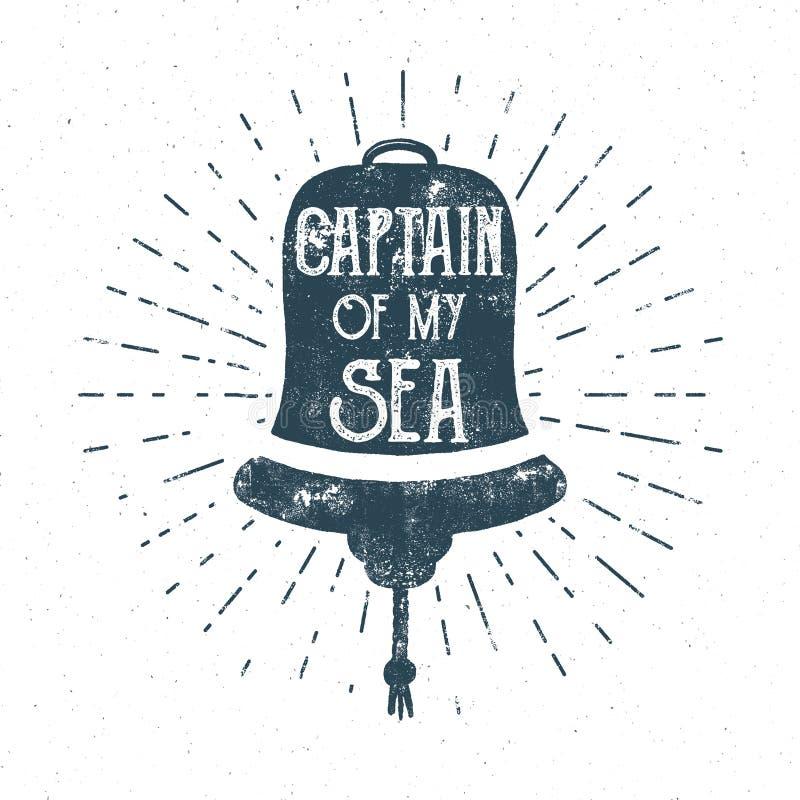 Αναδρομικό σχέδιο γραμμάτων Τ κουδουνιών σκαφών Εκλεκτής ποιότητας ετικέτα θάλασσας Ναυτικό έμβλημα με την τυπογραφία αποσπάσματο διανυσματική απεικόνιση