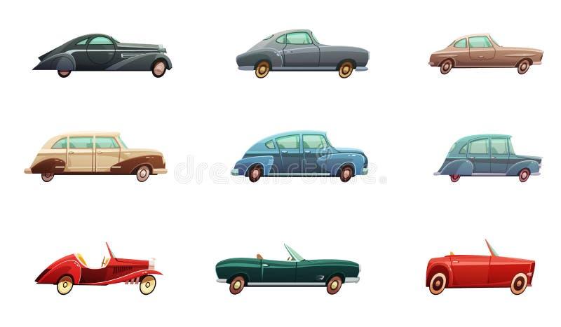 Αναδρομικό σύνολο αυτοκινήτων διανυσματική απεικόνιση