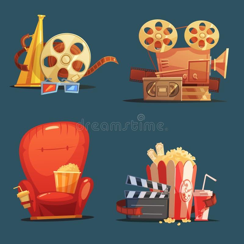 Αναδρομικό σύνολο κινούμενων σχεδίων συμβόλων κινηματογράφων κινηματογράφων διανυσματική απεικόνιση