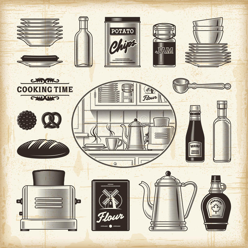 Αναδρομικό σύνολο κουζινών απεικόνιση αποθεμάτων