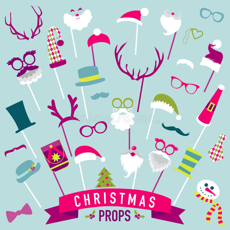 Αναδρομικό σύνολο κόμματος Χριστουγέννων ελεύθερη απεικόνιση δικαιώματος